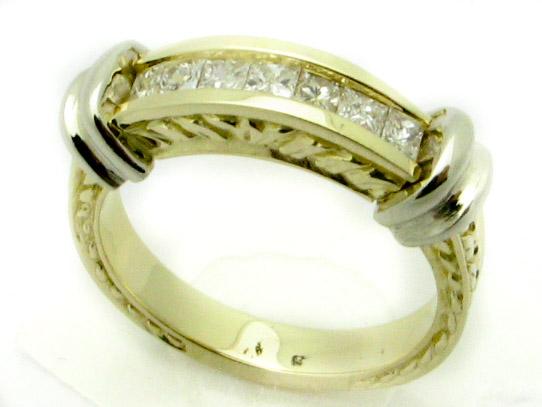 11155 14K TWO TONE LADIES PRINCESS DIAMOND BAND
