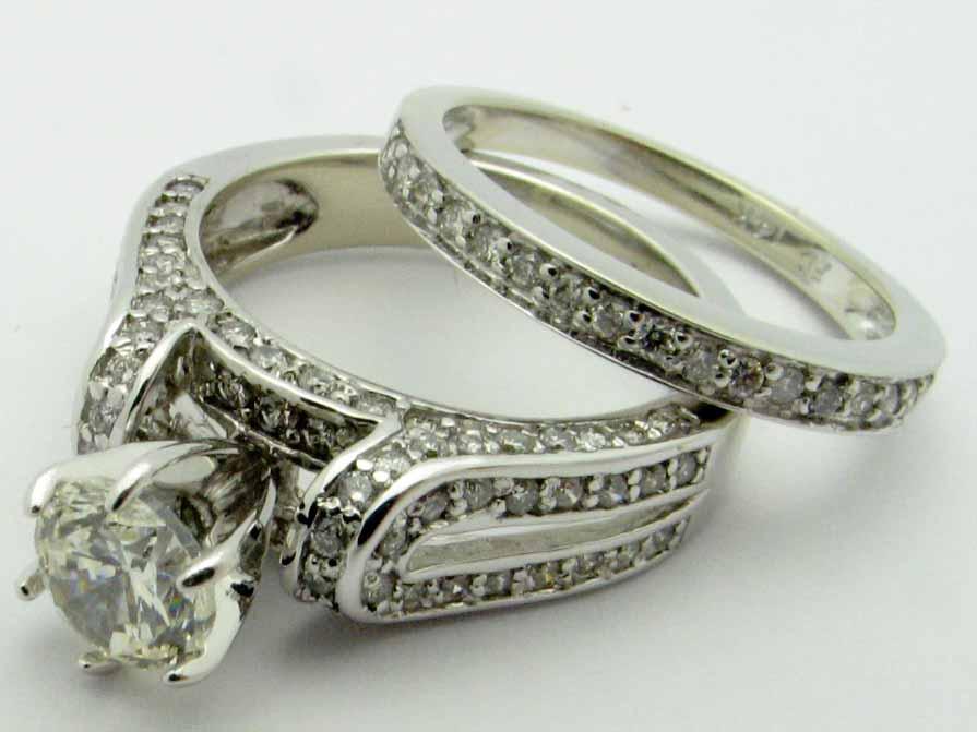 11253 14K WHITE GOLD LADIES ROUND  DIAMOND ENGAGMENTSET