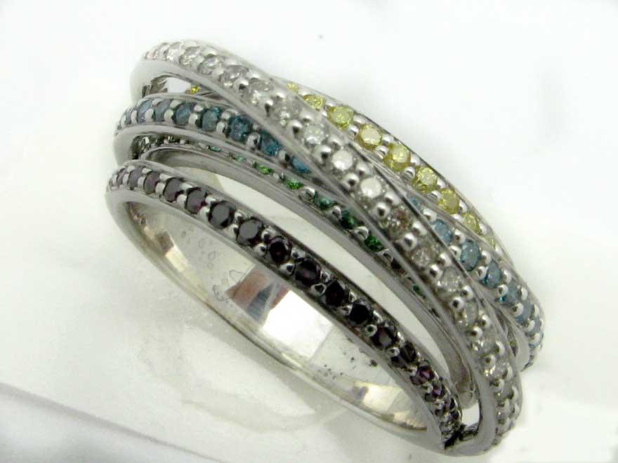 11269 14K WHITE GOLD DIAMOND MULTICOLOR RING