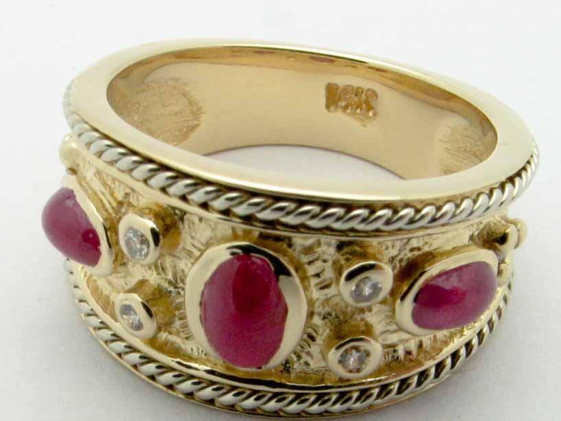 11323 14K YELLOW GOLD DIAMOND RUBY RING
