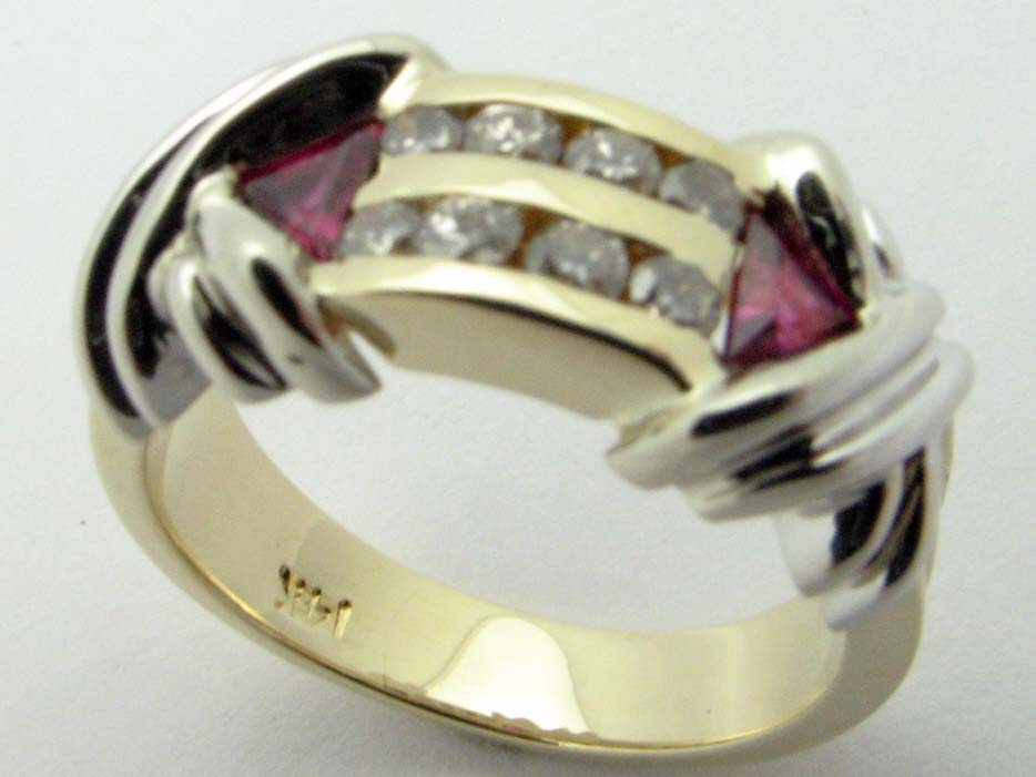 11324 14K TWO TONE DIAMONDS AND RUBY RING