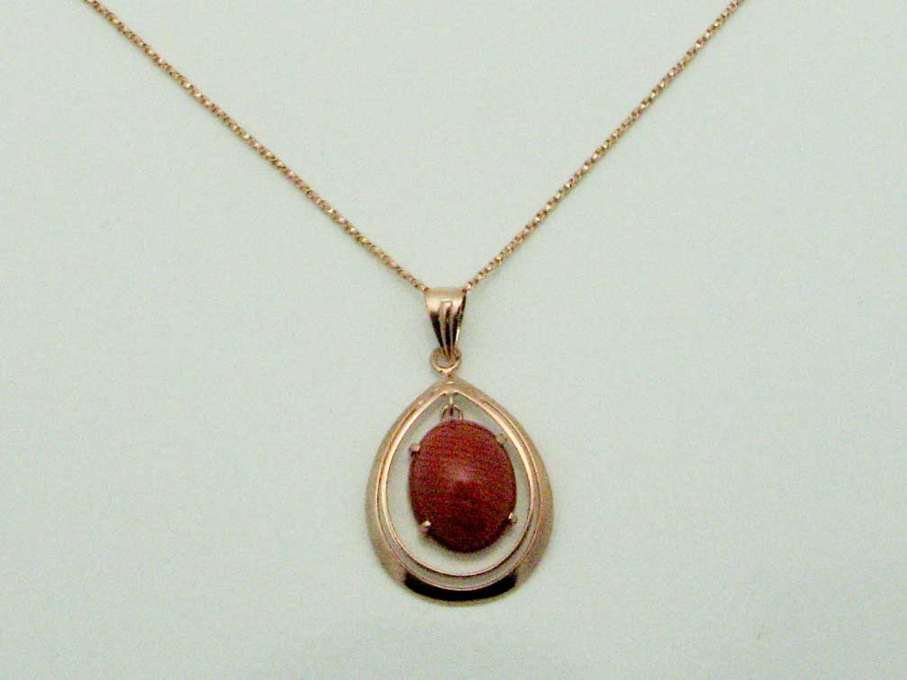 11402 14K ROSE GOLD CARNELIAN PENDENT WITH CHAIN