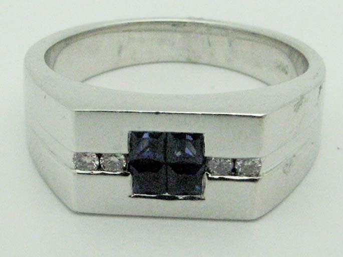 11515 14K WHITE GOLD DIAMOND SAPPHIRE RING