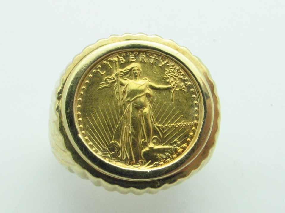 11553 14K YELLOW GOLD LIBERTY COIN RING