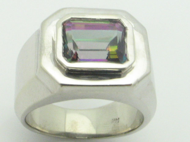 11556 14K WHITE GOLD MYSTIC TOPAZ  RING