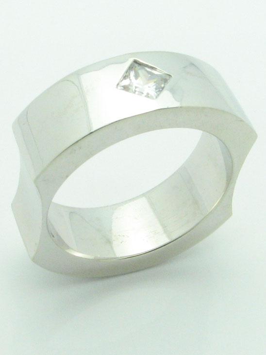 11562 14K WHITE GOLD PRINCESS  DIAMOND RING