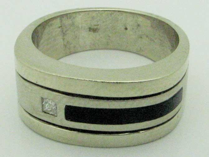 11593 14K TWO TONE DIAMOND ONYX RING