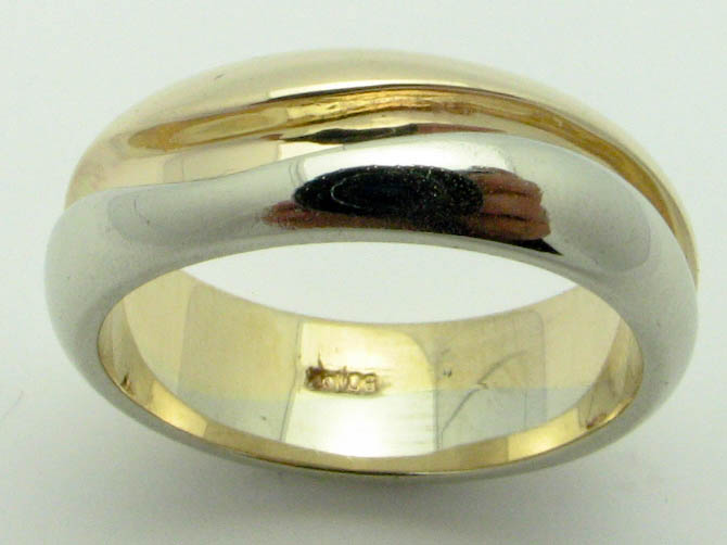 11625 14K TWO TONE HIGH POLISHED RING
