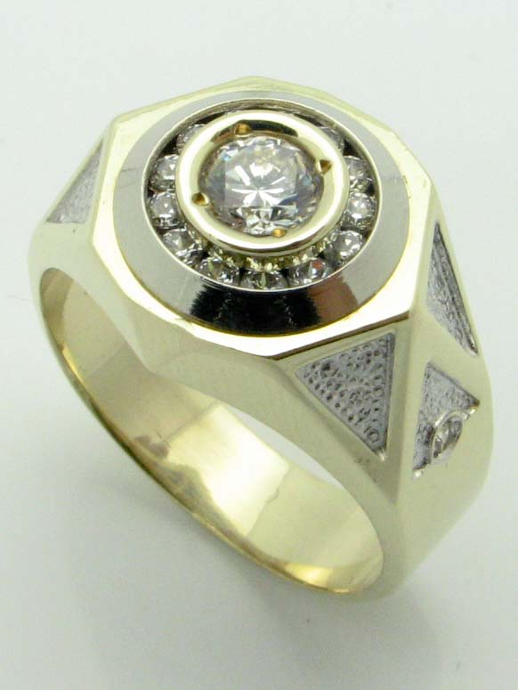 11637 14K TWO TONE CUBIC ZERCONIA RING