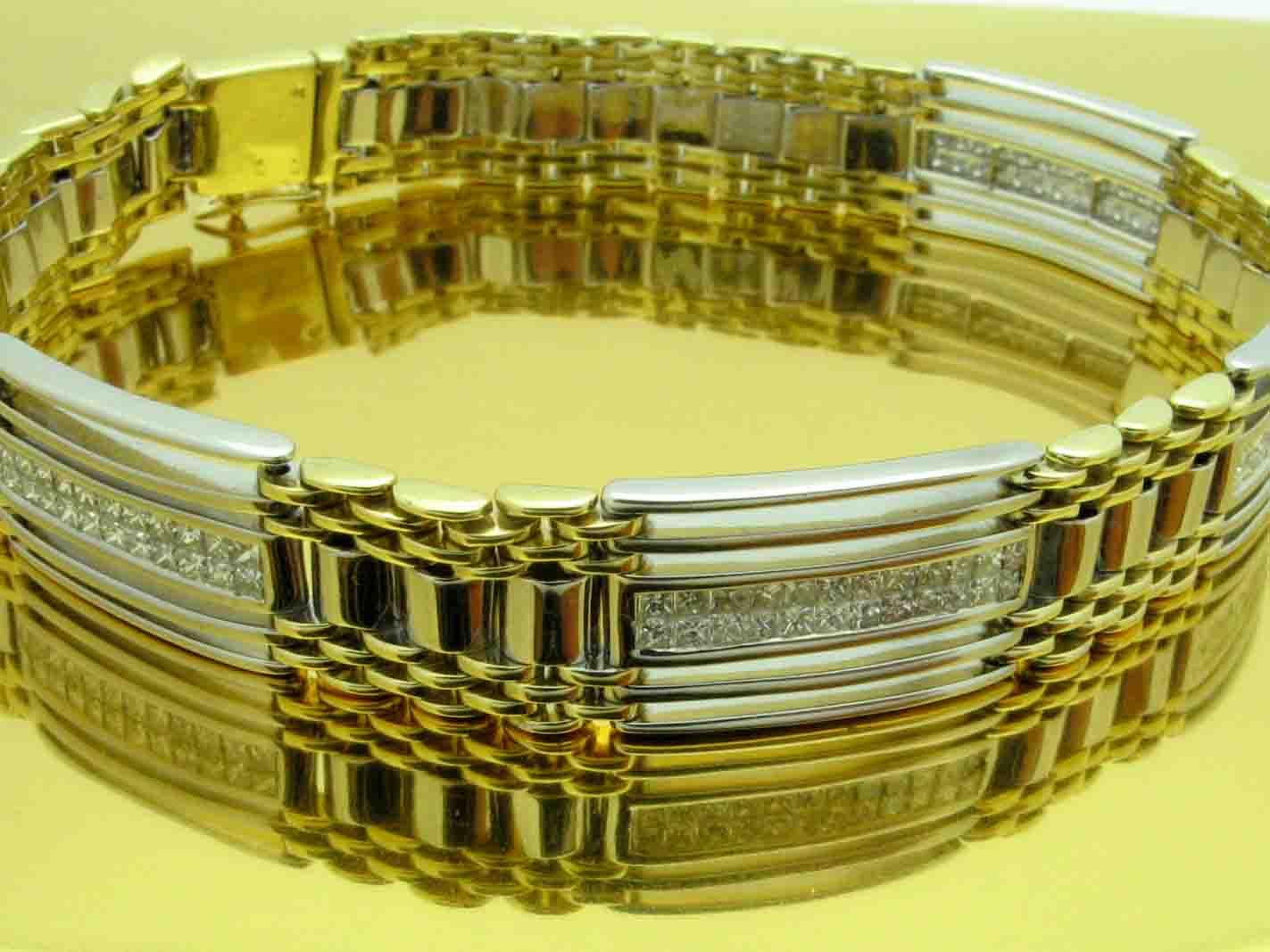 11669 14K TWO TONE DIAMOND PRINCESS BRACELET