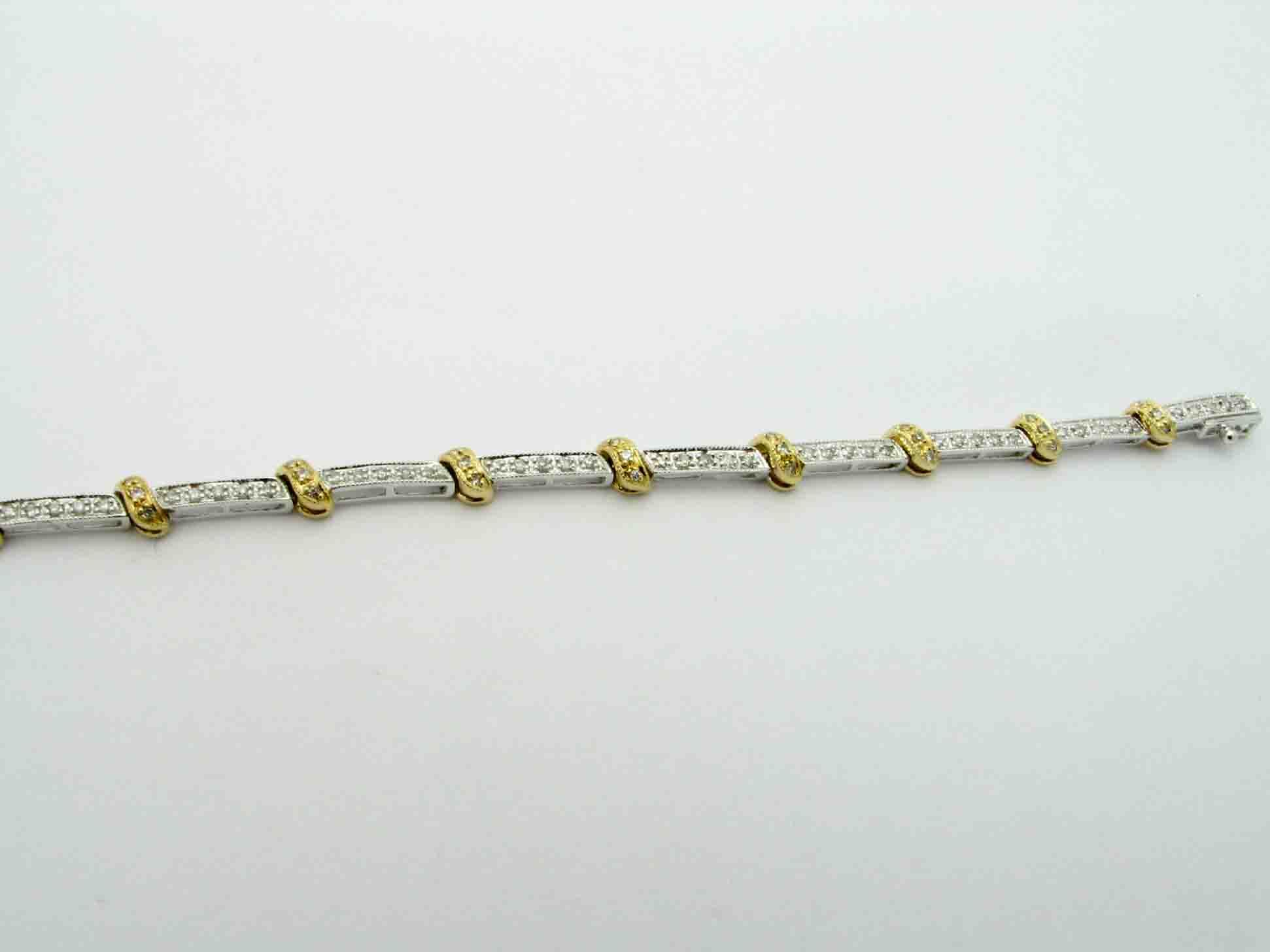 11707 14K TWO TONE DIAMOND BRACELET