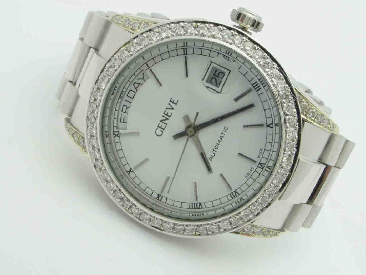 11802 18K WHITE GOLD DIAMOND GENEVA WATCH