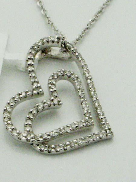 11938 14K WHITE GOLD DIAMOND DOUBLE HEART PENDENT