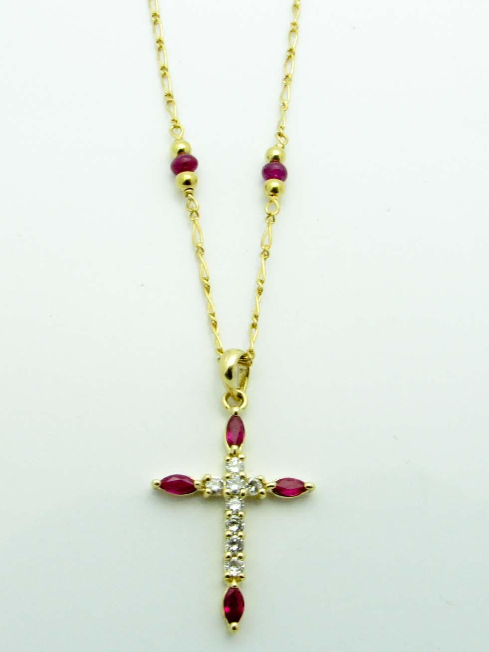 11944 14K YELLOW DIAMOND RUBY CROSS NECKLACE