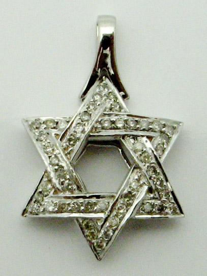 11968 14K WHITE GOLD STAR OF DAVID PENDANT