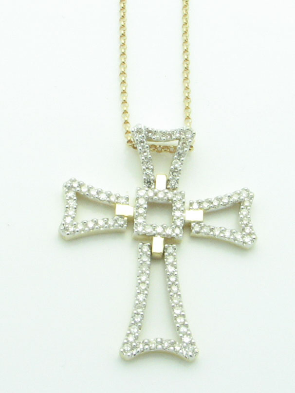 11974 14K YELLOW GOLD DIAMOND FLEXIBLE CROSS