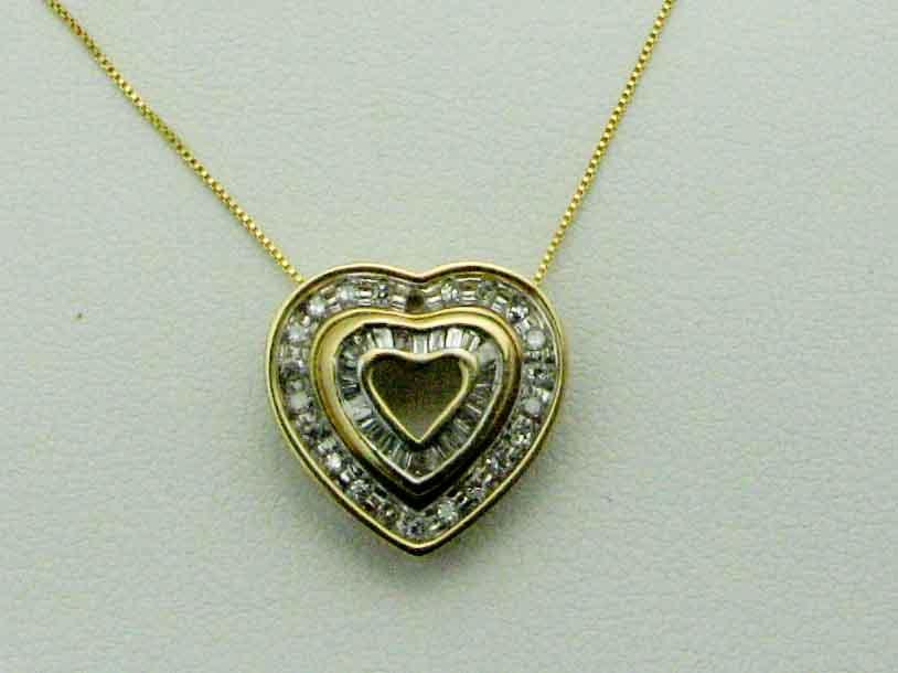 11985 14K YELLOW GOLD DIAMOND DETACHABLE HEART PENDENT
