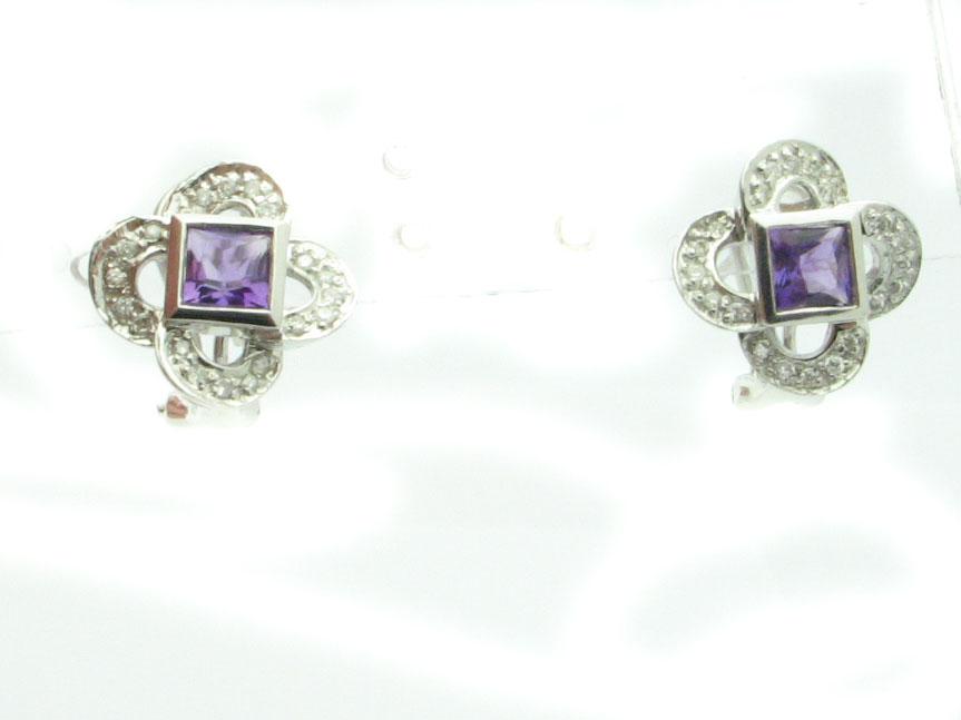 12022 14K WHITE GOLD DIAMOND AMYTHEST EARRINGS
