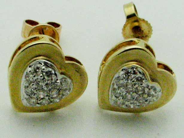 12023 14K YELLOW GOLD DIAMOND HEART EARRINGS