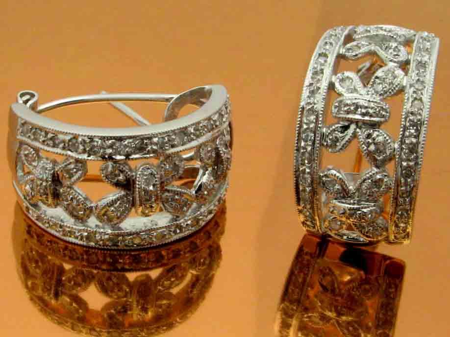 12025 14K WHITE GOLD DIAMOND EARRINGS