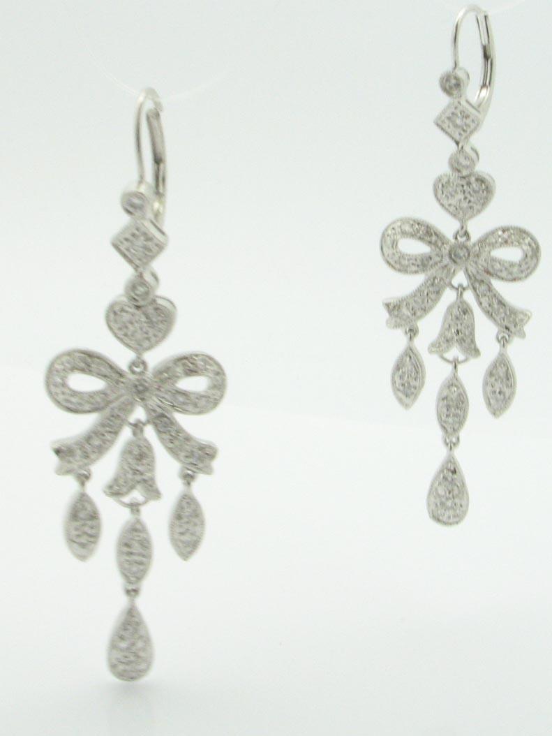12031 14K WHITE GOLD DIAMOND CHANDLIER EARRINGS