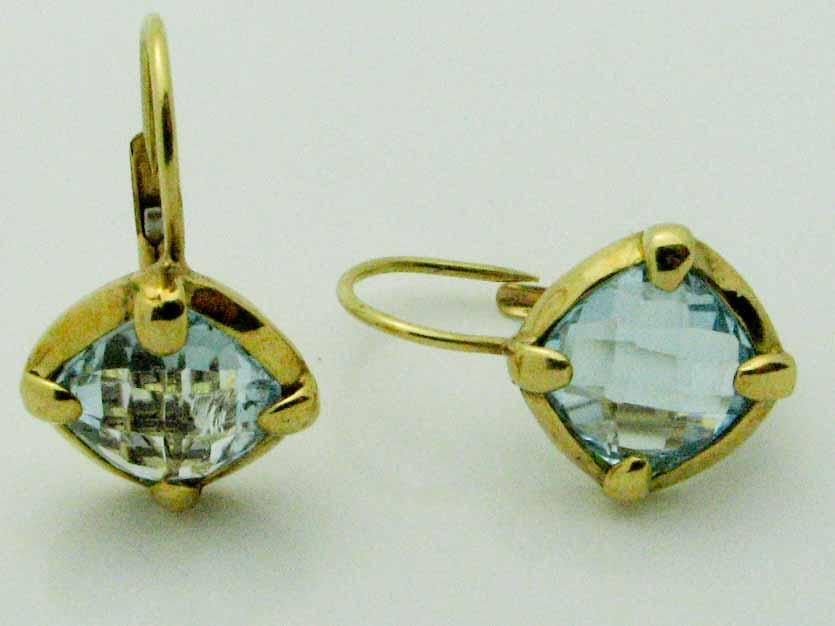12042 14K YELLOW GOLD BLUE TOPAZ EARRINGS