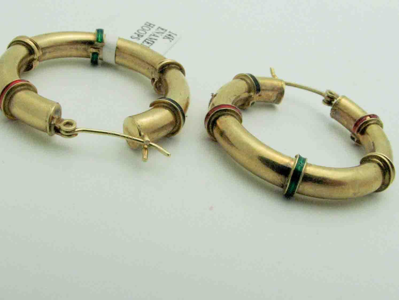 12050 14K YELLOW GOLD ENAMEL EARRINGS