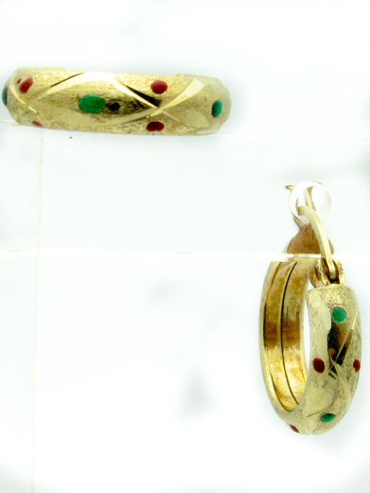 12051 14K YELLOW GOLD ENAMEL EARRINGS