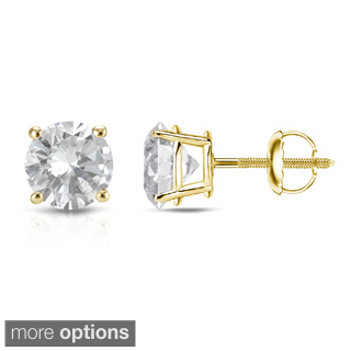 12105 14K YELLOW GOLD DIAMOND EARRINGS