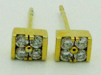 12110 14K YELLOW GOLD DIAMOND EARRINGS