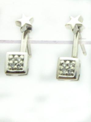 12112 14K WHITE GOLD DIAMOND STAR EARRINGS