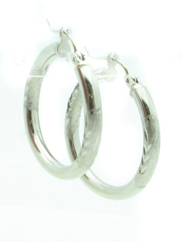 12134 14K WHITE GOLD DIAMOND CUT EARRINGS