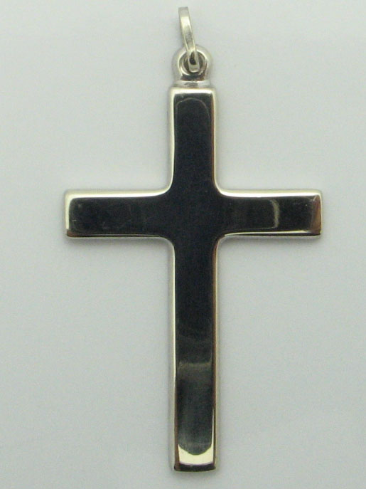 12196 14K WHITE GOLD HIGH POLISHED CROSS PENDENT