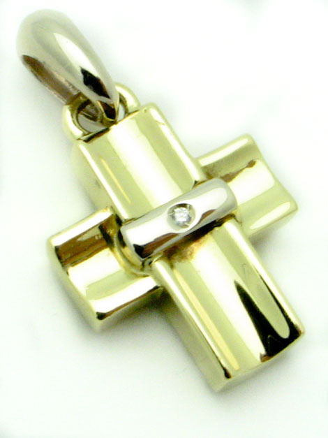 12301 18K TWO TONE CUBIC ZERCONIA CROSS PENDENT