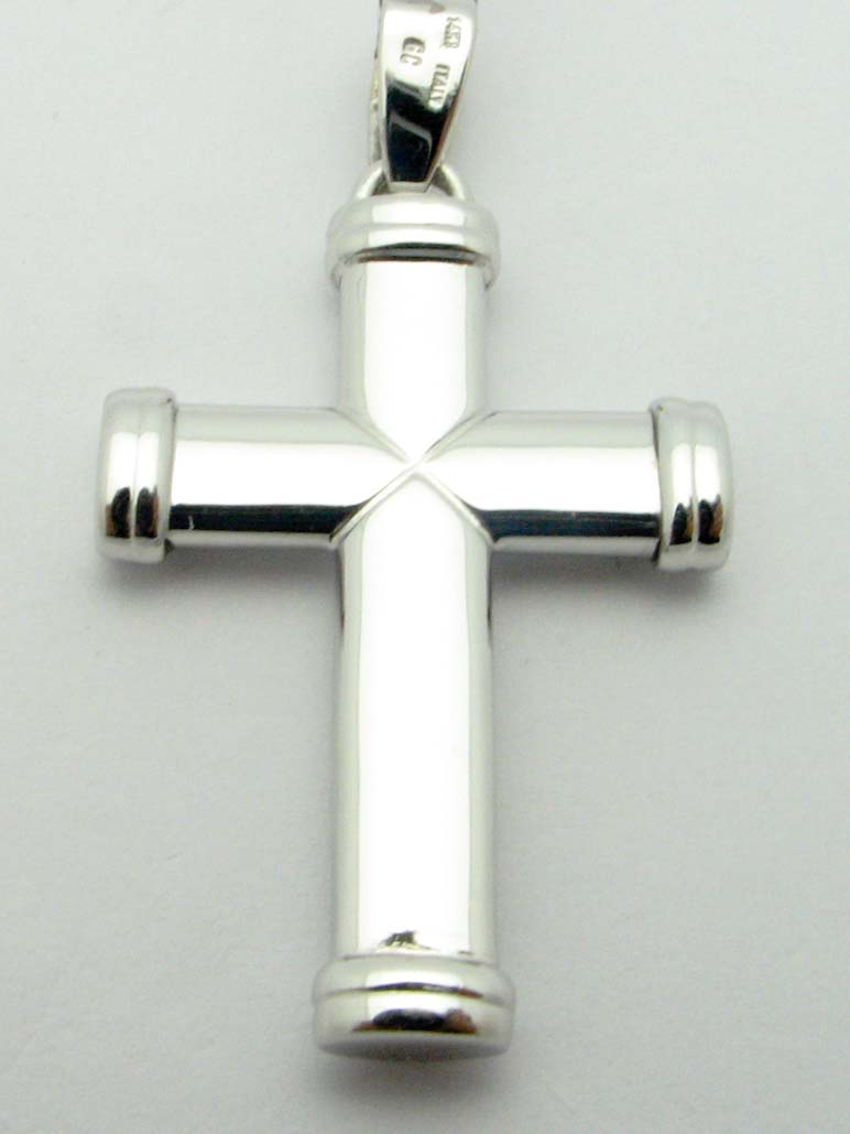 12309 14K WHITE GOLD HIGH POLISHED CROSS PENDENT