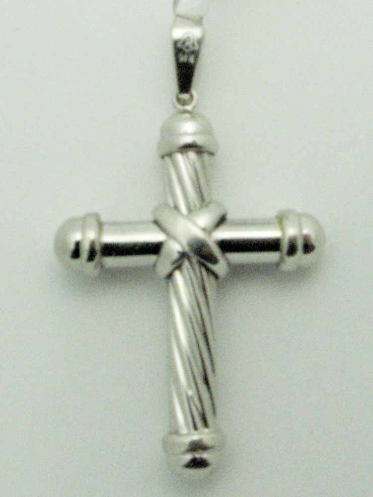 12310 14K WHITE GOLD TWISTED CROSS PENDENT