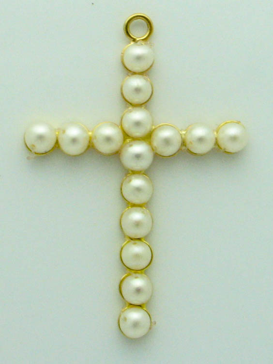 12826 21K YELLOW GOLD PEARL CROSS PENDENT