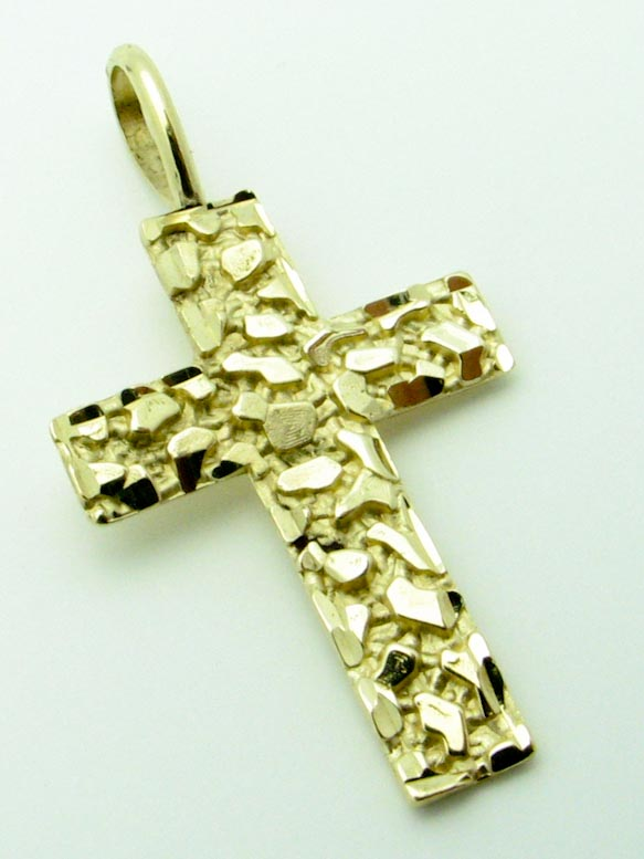 13222 14K YELLOW GOLD NUGGET CROSS PENDENT