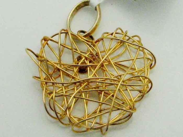 13344 14K YELLOW GOLD THREADED HEART PENDENT