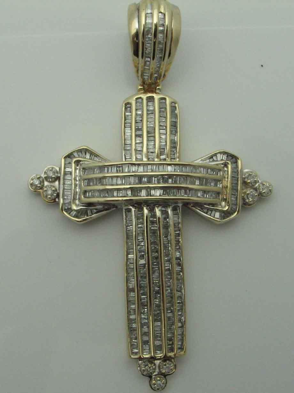 13537 14K WHITE GOLD DIAMOND CROSS PENENDT