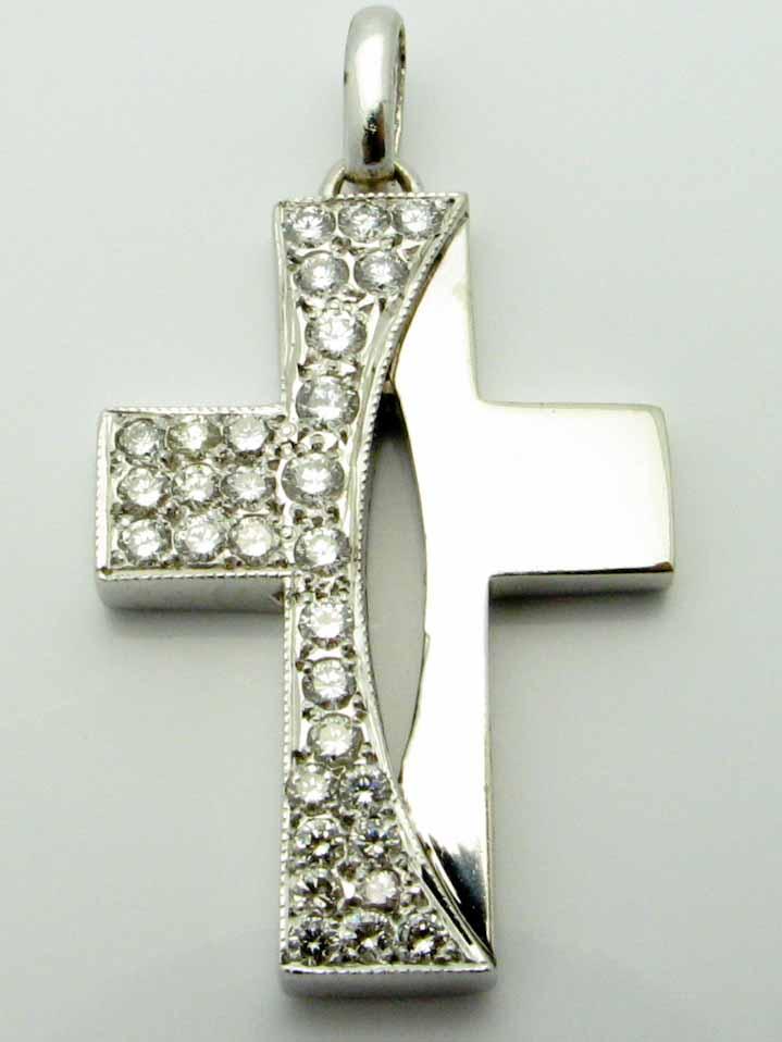 13844 14K WHITE GOLD DIAMOND CROSS PENDENT