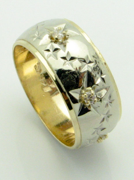 14345 14K TWO TONE STAR RING