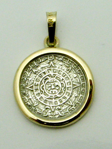 14457 14K TWO TONE ANTIQUE COIN PENDENT