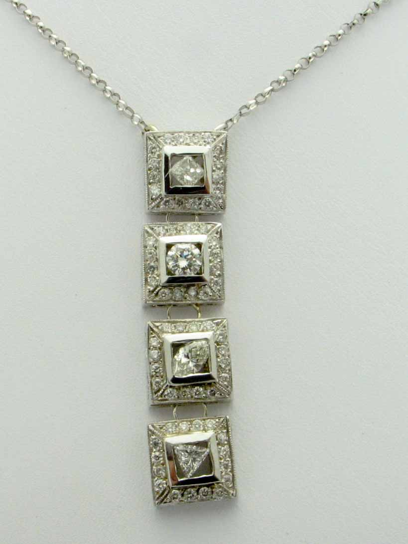 14473 14K WHITE GOLD DIAMOND 4 TIERS NECKLACE
