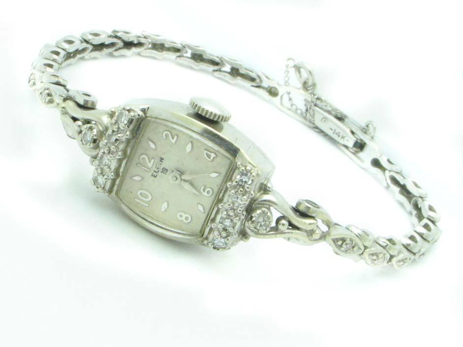 14499 14K WHITE GOLD DIAMOND ELGIN ANTIQUE WATCH