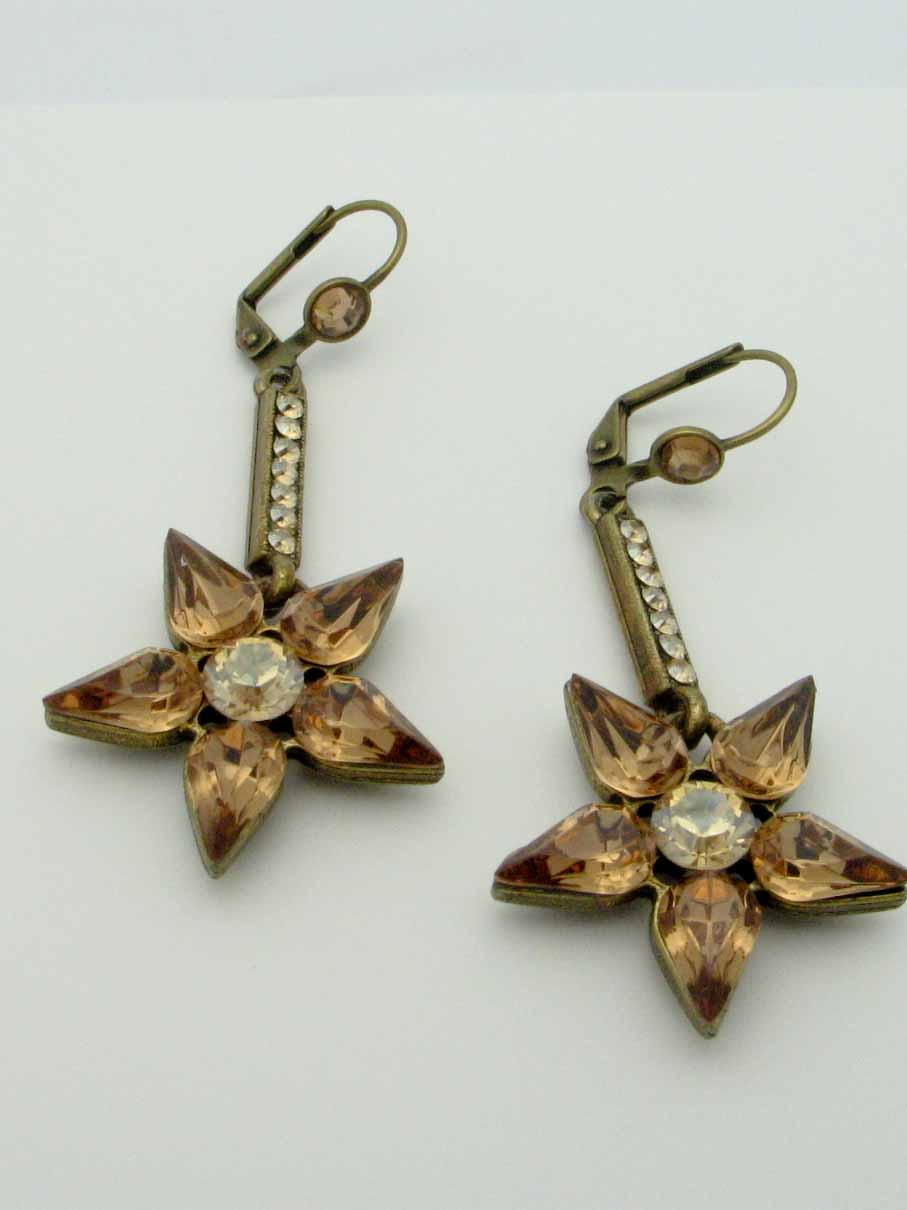 14526 BELLADONNA GOLD STAR DANGLE EARRINGS
