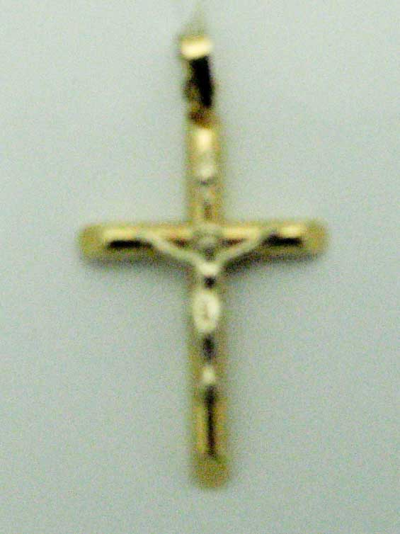 14560 14K YELLOW GOLD TUBE JESUS CROSS PENDENT