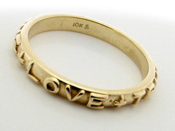 15110 10K YELLOW GOLD LOVE ANTIQUE RING