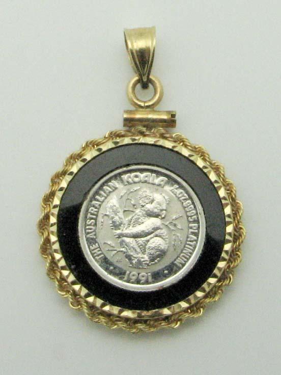 15373 14K YELLOW GOLD PANDA COIN PENDENT