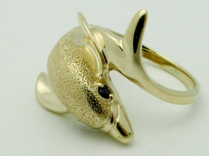 15522 10K YELLOW GOLD DOLPHIN RING